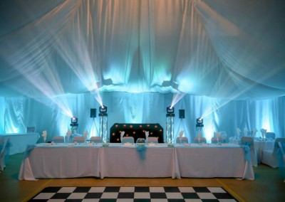Wedding Disco setup in baby blue (cyan)