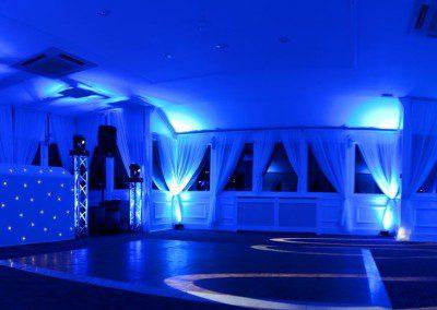 Panoramic view of a wedding setup