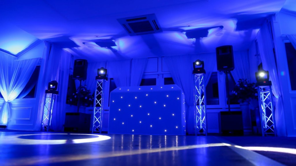 White DJ booth with our standard setup