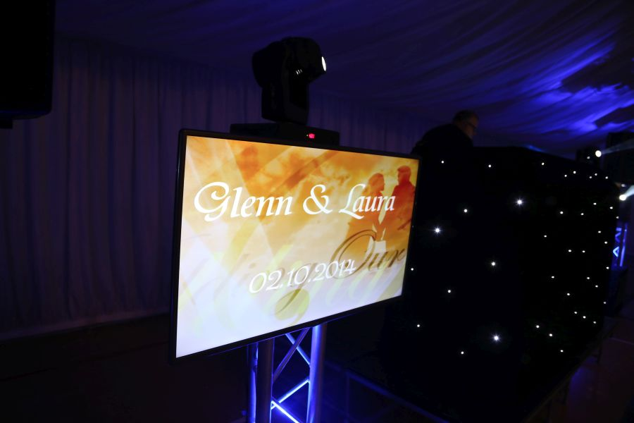 Wedding disco setup with TVs