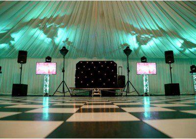 Wedding disco setup with TVs